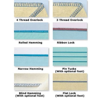 Variety of stitches that can be made with the Brother 1034D serger