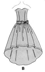 technical drawing of strapless evening gown