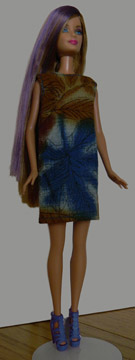 Barbie Shift in blue and brown print