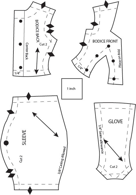 bodice, sleeve, gloves pattern